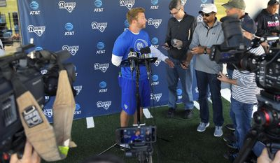 Los Angeles Rams head coach Sean McVay talks with reporters following an NFL football practice, Tuesday, May 30, 2017, in Thousand Oaks, Calif. (AP Photo/Mark J. Terrill)