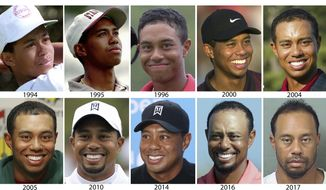 "FILE - These are file photos by year showing Tiger Woods, starting in 1994 and ending with a 2017 photo provided by the Palm Beach County Sheriff's Office on Monday, May 29, 2017. Tiger Woods attributed an ""unexpected reaction"" to prescription medicine for his arrest on a DUI charge that landed him in a Florida jail Monday for nearly four hours. Woods, the 14-time major champion who had back surgery five weeks ago, was arrested on suspicion of DUI at about 3 a.m. Monday and taken to Palm Beach County jail. He was released on his own recognizance. (AP Photo/File)"
