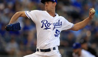 Kansas City Royals starting pitcher Eric Skoglund delivers to a Detroit Tigers batter during the first inning of a baseball game at Kauffman Stadium in Kansas City, Mo., Tuesday, May 30, 2017. (AP Photo/Orlin Wagner)