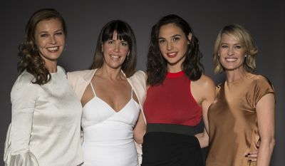 "In this May 20, 2017 photo, Connie Nielsen, from left, director Patty Jenkins, Gal Gadot, and Robin Wright pose for a portrait at the ""Wonder Woman"" junket in Culver City, Calif. (Photo by Ron Eshel/Invision/AP)"