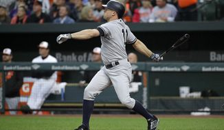 New York Yankees' Brett Gardner watches his solo home run in the first inning of a baseball game against the Baltimore Orioles in Baltimore, Tuesday, May 30, 2017. (AP Photo/Patrick Semansky)