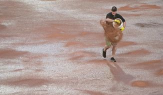 A member of the grounds crews throws down a drying agent before the start of the 12th inning of a baseball game between the Pittsburgh Pirates and the Arizona Diamondbacks in Pittsburgh, Wednesday, May 31, 2017. (AP Photo/Fred Vuich)