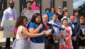 Zacnite Vargas and Fatima Vargas, 16, speak at a news conference Wednesday, May 31, 2017, in Nashville, Tenn., urging the city council to adopt sanctuary city-like standards. Zacnite Vargas came to the United States from Mexico at age 3 with her mother and father. She is in the country under former President Barack Obama's order protecting children in her situation from deportation for two years, while letting them work. Fatima Vargas is a U.S. citizen. (AP Photo/Jonathan Mattise)