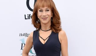 "In this Dec. 7, 2016 photo, comedian Kathy Griffin poses at The Hollywood Reporter's 25th Annual Women in Entertainment Breakfast in Los Angeles. Griffin's video holding what was meant to look like President Donald Trump's severed head, has resulted in a lost endorsement deal and at least one club engagement for the comedian. Griffin has apologized, conceding that the brief video, which she originally described as an ""artsy fartsy statement,"" mocking the commander in chief, was ""too disturbing"" and wasn't funny. (Photo by Chris Pizzello/Invision/AP, File)"