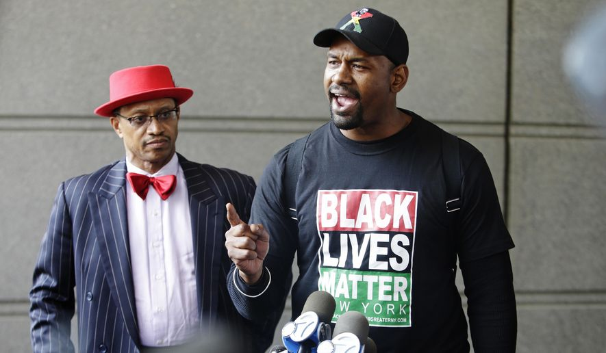 Hawk Newsome, of Black Lives Matter, speaks to the media outside of the Bronx Supreme Court after a police sergeant was indicted by a New York City grand jury in New York, Wednesday, May 31, 2017, in New York. (AP Photo/Frank Franklin II) ** FILE **