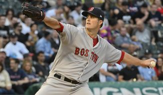 Boston Red Sox starting pitcher Drew Pomeranz (31) delivers against the Chicago White Sox during the first inning of a baseball game in Chicago on Wednesday, May 31, 2017. (AP Photo/Matt Marton)