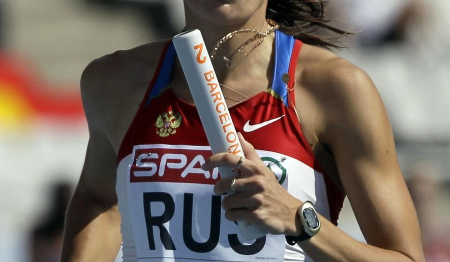 FILE -In this Saturday, July 31, 2010 file photo, Russia's Yulia Chermoshanskaya competes in a Women's 4x100m heat during the European Athletics Championships, in Barcelona, Spain. Six Russian and Ukrainian track athletes have been handed doping bans after retests found they had doped at the 2008 and 2012 Olympics, it was reported Wednesday May 31, 2017. (AP Photo/Anja Niedringhaus, File)