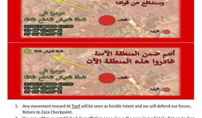 In this image provided by the Pentagon, a leaflet the U.S. dropped in Syria warning the forces to leave the area. A Pentagon spokesman said the leaflets told the pro-government forces to leave the established protected zone, which is about 55 kilometers around an area where U.S. and coalition forces have been operating. (Pentagon via AP)