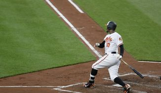 Baltimore Orioles' Adam Jones watches his RBI double during the third inning of the team's baseball game against the New York Yankees in Baltimore, Wednesday, May 31, 2017. (AP Photo/Patrick Semansky)