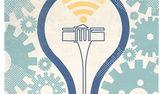 Illustration on internet innovation by Linas Garsys/The Washington Times
