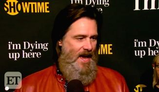 "Comedian Jim Carrey told Entertainment Today that comedians are the ""last line of defense"" against President Donald Trump during a May 31, 2017, interview. (Entertainment Tonight screenshot)"