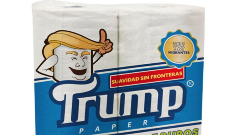 A mockup of what Trump-brand toilet paper, to be sold in Mexico, will look like. (Antonio Battaglia/Associated Press via New York Daily News) [http://www.nydailynews.com/news/world/mexican-businessman-launches-trump-toilet-paper-insults-article-1.3210133]
