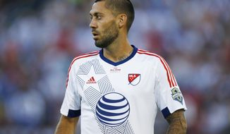 FILE -In this July 29, 2015, file photo, MLS All-Star Clint Dempsey takes the pitch to face the Tottenham Hotspur during the first half of an MLS All-Star soccer game in Commerce City, Colo. Dempsey is hoping to get the United States team back to another World Cup appearance. (AP Photo/David Zalubowski, File)