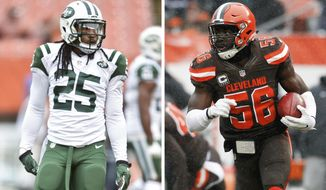 FILE - At left, in an Oct. 30, 2016, file photo,  New York Jets strong safety Calvin Pryor practices before an NFL football game against the Cleveland Browns, in Cleveland. At right, in a Dec. 11, 2016, file photo, Cleveland Browns inside linebacker Demario Davis (56) returns a blocked extra point against the Cincinnati Bengals in the first half of an NFL football game, in Cleveland. Linebacker Demario Davis is on his way back to the New York Jets after the Cleveland Browns traded him for safety Calvin Pryor. (AP Photo/File)