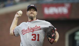 Washington Nationals starting pitcher Max Scherzer works in the first inning of a baseball game against the San Francisco Giants on Wednesday, May 31, 2017, in San Francisco. (AP Photo/Eric Risberg)