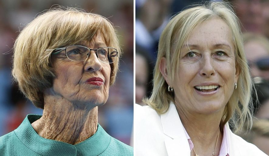 FILE - At left, in a  Jan. 26, 2015, file photo, Australian tennis great Margaret Court looks on during the official launch of the remodeled Margaret Court Arena at the Australian Open tennis championship in Melbourne, Australia. At right, in a July 4, 2015, file photo, former Grand Slam champion Martina Navratilova watches from the royal box on Centre Court at the All England Lawn Tennis Championships in Wimbledon, London. Martina Navratilova has written an open letter criticizing Margaret Court's comments about same-sex marriage and the lesbian, gay, bisexual and transgender community, and recommending that tennis officials rename the arena that bears the Australian great's name at Melbourne Park. (AP Photo/File)