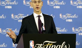 NBA Commissioner Adam Silver speaks at a news conference before Game 1 of basketball's NBA Finals between the Golden State Warriors and the Cleveland Cavaliers in Oakland, Calif., Thursday, June 1, 2017. (AP Photo/Jeff Chiu)