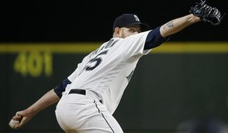 Seattle Mariners starting pitcher James Paxton throws against the Colorado Rockies during the sixth inning of a baseball game, Wednesday, May 31, 2017, in Seattle. Paxton (AP Photo/Ted S. Warren)