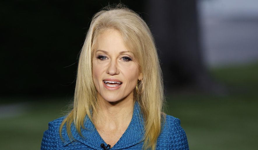 In this May 10, 2017, file photo, Kellyanne Conway, senior adviser to President Donald Trump, speaks during an interview outside the White House, in Washington. (AP Photo/Evan Vucci, File)