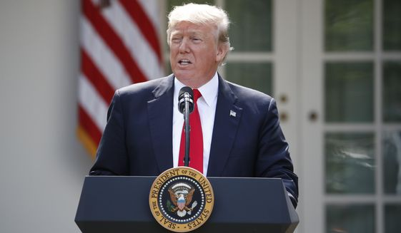 President Donald Trump speaks about the shooting and explosion in Manila, Thursday, June 1, 2017, in the Rose Garden of the White House in Washington. (AP Photo/Pablo Martinez Monsivais)