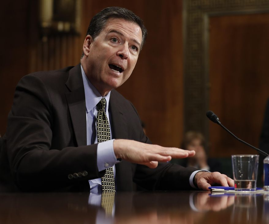 In this May 3, 2017, photo, then-FBI Director James Comey testifies on Capitol Hill in Washington. (Associated Press) **FILE***