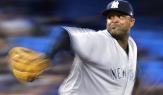 New York Yankees starting pitcher CC Sabathia winds up during the seventh inning of the team's baseball game against the Toronto Blue Jays on Thursday, June 1, 2017, in Toronto. (Frank Gunn/The Canadian Press via AP)