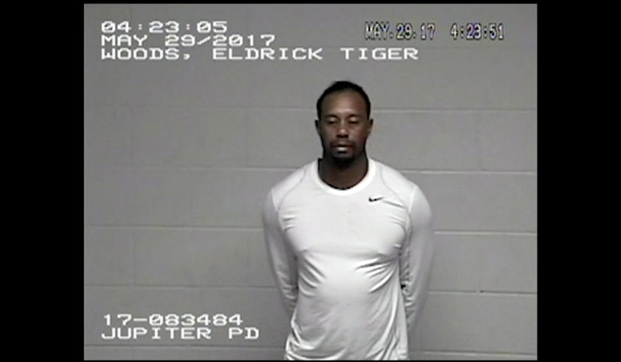 In this Monday, May 29, 2017, image made from a surveillance video provided by the Jupiter Police Department, Tiger Woods stands in Palm Beach County jail following his DUI arrest in Palm Beach County, Fla. Woods told the officers he had not been drinking, and two breath tests at the jail registered a 0.0 blood-alcohol level. Woods is to be arraigned July 5 in Palm Beach County Court. (Jupiter Police Department via AP)