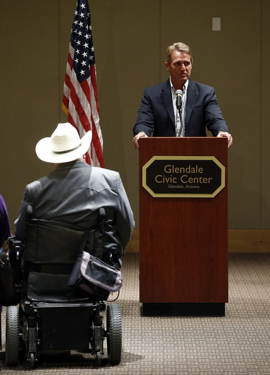 Sen. Jeff Flake, R-Ariz., speaks at a Glendale Chamber of Commerce event Tuesday, May 30, 2017, in Glendale, Ariz. (AP Photo/Ross D. Franklin)
