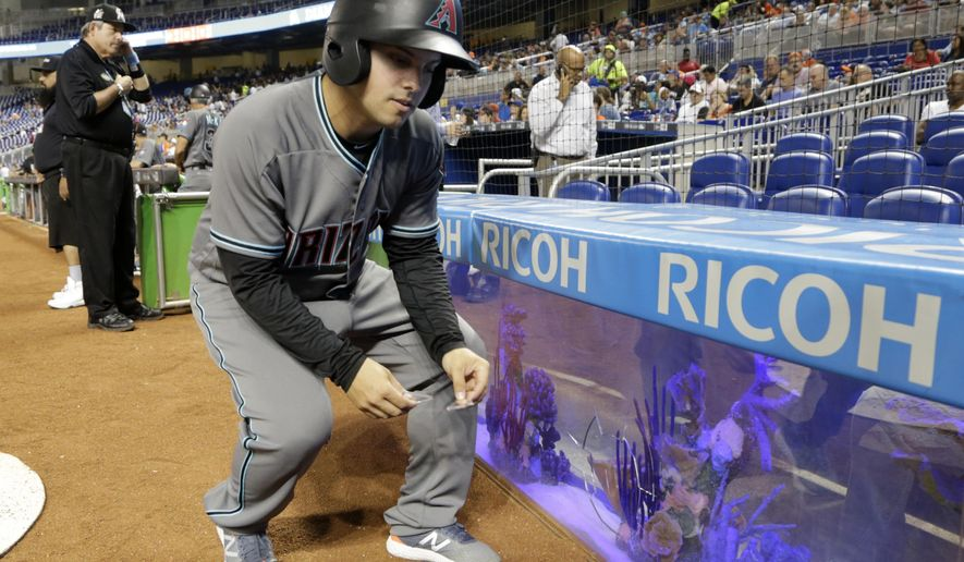 A ball boy removes safety glass from an aquarium behind home plate which broke during the first inning of a baseball game between the Miami Marlins and the Arizona Diamondbacks, Friday, June 2, 2017, in Miami. (AP Photo/Lynne Sladky)