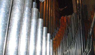 This recent photo, shows some of the 1,500 pipes that make up the pipe organ at First Presbyterian Church in Stroudsburg, Pa. The church has a unique project in the works. It will combine two church organs into one over the next two years, thanks to the generous gifting of an Easton, Pa. organ no longer in use.(Howard Frank/Pocono Record via AP)