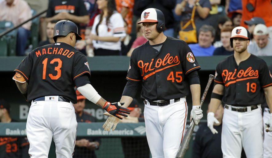 Baltimore Orioles' Mark Trumbo (45) greets teammate Manny Machado after Machado hit a solo home run in the first inning of a baseball game against the Boston Red Sox in Baltimore, Friday, June 2, 2017. (AP Photo/Patrick Semansky)