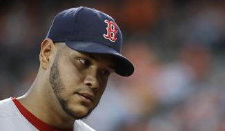 Boston Red Sox starting pitcher Eduardo Rodriguez walks off the field at the end of the fourth inning of the team's baseball game against the Baltimore Orioles in Baltimore, Thursday, June 1, 2017. Rodriguez gave up a solo home run in the inning. (AP Photo/Patrick Semansky)