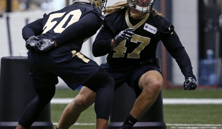 New Orleans Saints linebacker Alex Anzalone (47) goes through drills during NFL football practice in Metairie, La., Thursday, June 1, 2017. (AP Photo/Gerald Herbert)