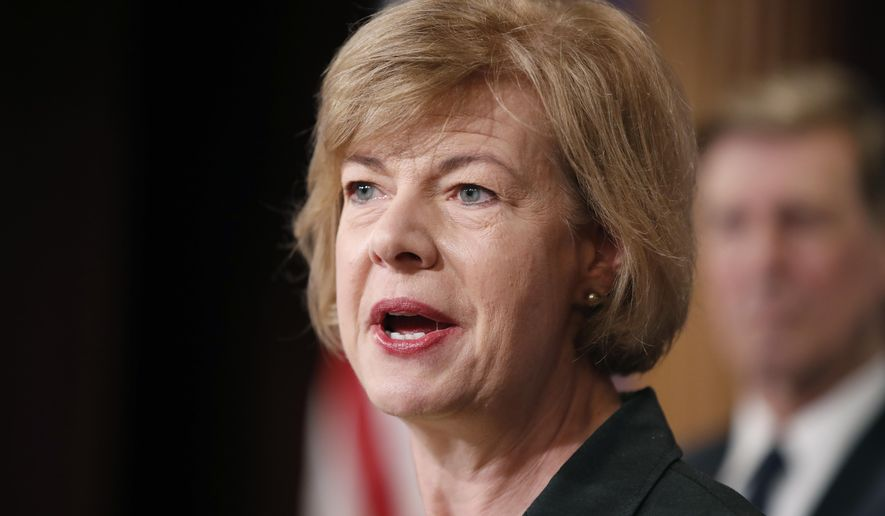 In this Tuesday, April 25, 2017, file photo, Sen. Tammy Baldwin, D-Wis., speaks about President Donald Trump's first 100 days, during a media availability on Capitol Hill in Washington. (AP Photo/Alex Brandon, File)