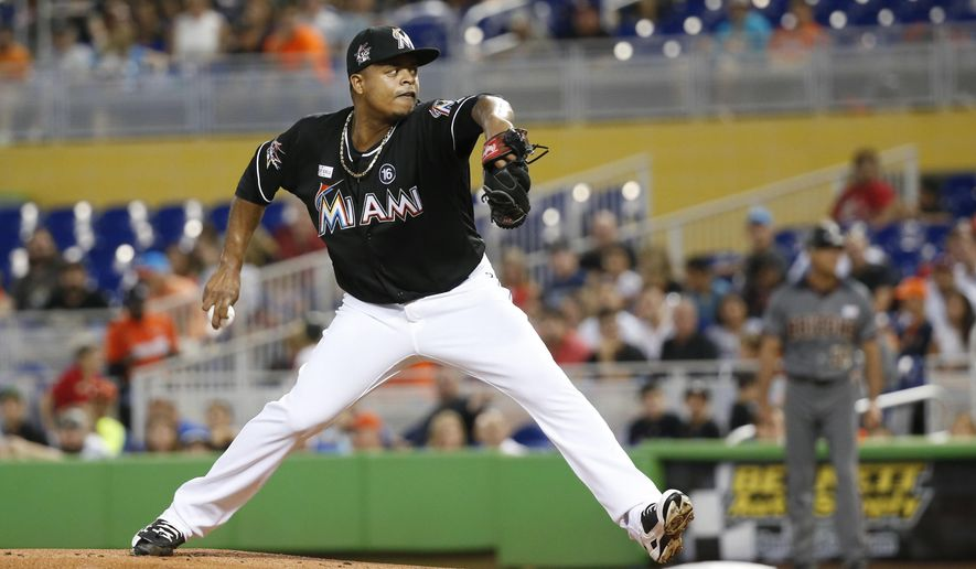 Miami Marlins' Edinson Volquez delivers a pitch during the first inning of a baseball game against the Arizona Diamondbacks, Saturday, June 3, 2017, in Miami. (AP Photo/Wilfredo Lee)