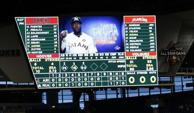 The scoreboard showing no hits by the Arizona Diamondbacks is shown during the bottom of the eighth inning of a baseball game against the Miami Marlins, Saturday, June 3, 2017, in Miami. The Marlins defeated the Diamondbacks 3-0 in a no-hitter. (AP Photo/Wilfredo Lee)