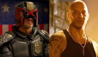 "Karl Urban as Judge Dredd in ""Dredd"" and Van Diesel as Xander Cage in ""xXx: Return of Xander Cage,"" now available on 4K Ultra HD."