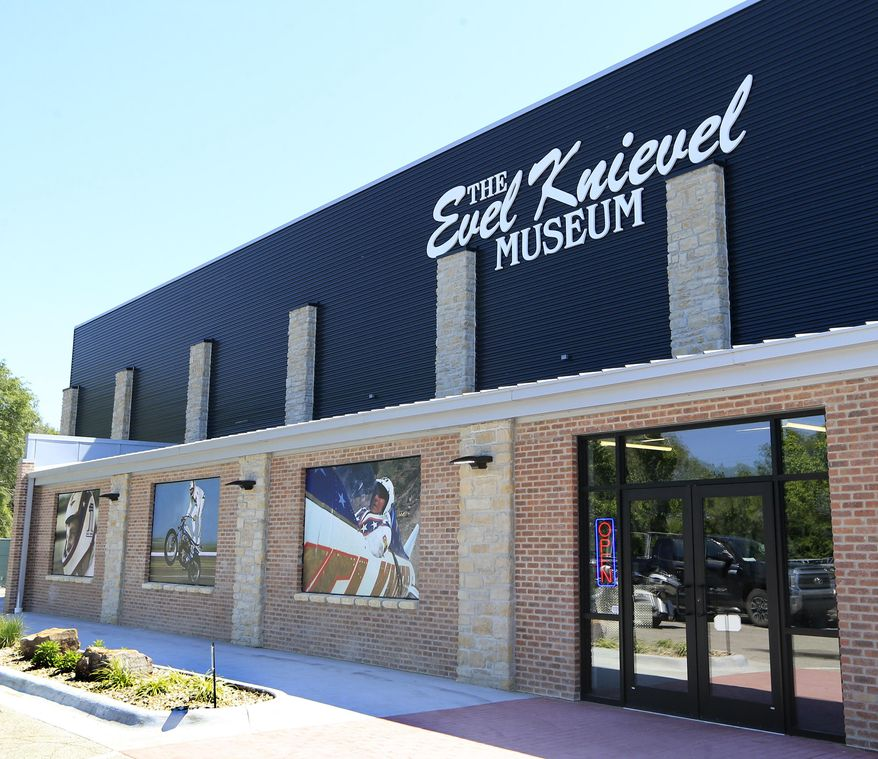 Double doors lead to the entrance of the new Evel Knievel Museum in Topeka, Kan., Friday, June 2, 2017. A new Kansas museum is giving enthusiasts of late motorcycle daredevil Evel Knievel a jump on appreciating his death-defying, bone-breaking exploits. The $5-million, 13,000-square-foot homage to the man famous for rocket-powered and motorbike stunts before his 2007 death has opened in Topeka.(AP Photo/Orlin Wagner)