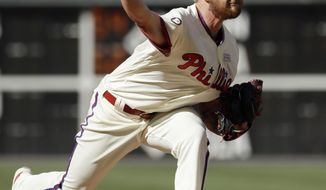 Philadelphia Phillies' Ben Lively pitches during the third inning of a baseball game against the San Francisco Giants, Saturday, June 3, 2017, in Philadelphia. (AP Photo/Matt Slocum)