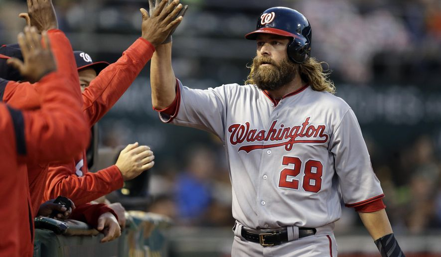 Washington Nationals' Jayson Werth (28) is congratulated after scoring against the Oakland Athletics in the fourth inning of a baseball game Friday, June 2, 2017, in Oakland, Calif. Werth scored on a single by Nationals' Ryan Zimmerman. (AP Photo/Ben Margot)