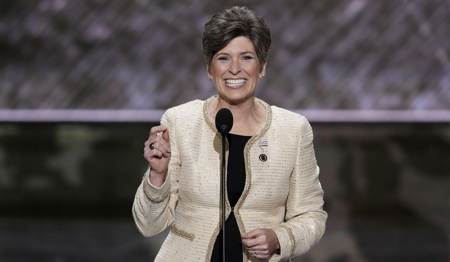 In this July 18, 2016, file photo, Sen. Joni Ernst, R-Iowa, speaks during the opening day of the Republican National Convention in Cleveland.  (AP Photo/J. Scott Applewhite, File)