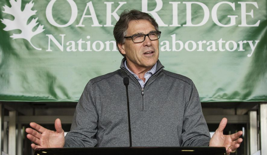 FILE - In this May 22, 2017 file photo, Energy Secretary Rick Perry speaks at Oak Ridge National Laboratory's Manufacturing Demonstration Facility in Knoxville, Tenn. Since becoming President Donald Trump's energy secretary, Perry has kept a low profile and rarely has been seen publicly around Washington.  (AP Photo/Erik Schelzig, File)