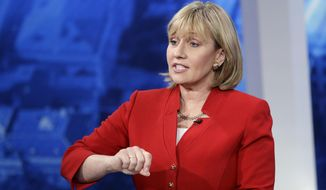 FILE- In this May 18, 2017 file photo, New Jersey Lt. Gov. Kim Guadagno speaks during a Republican gubernatorial primary debate in Newark, N.J. Guadagno has been at Gov. Chris Christie's side for the last eight years. Her Republican primary campaign to replace him has forced her to straddle a fine line between embracing the positive from her time in office and running away from the Christie legacy. (AP Photo/Julio Cortez, Pool, File)