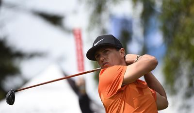 Denmark's Thorbjorn Olesen tees off on hole one during the third day of Nordea masters at Barseback Golf Club, Sweden Saturday June 3, 2017 (Emil Langvad /TT via AP)