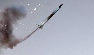 The Russian military's hypersonic Zircon missile is shown in flight in this photo from a Russian website KRSK.kp.ru, via Wikipedia. (KRSK/Wikipedia) [https://www.krsk.kp.ru/daily/26670.5/3692150/]