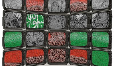 Illustration on Saudi government efforts to change media and social extremism by Linas Garsys/The Washington Times
