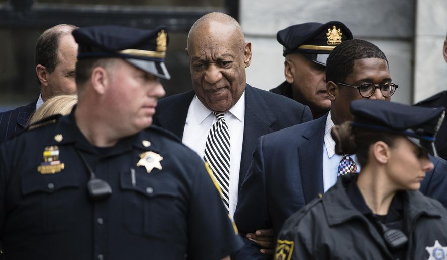 In this April 3, 2017, file photo, entertainer Bill Cosby leaves after a pretrial hearing in his sexual assault case at the Montgomery County Courthouse in Norristown, Pa. Bill Cosby doesn't plan to testify when he goes on trial Monday June 5, 2017, on sexual assault charges, but the rambling, disturbing testimony he gave a decade ago in the accuser's civil suit could prove just as crucial. (AP Photo/Matt Rourke)
