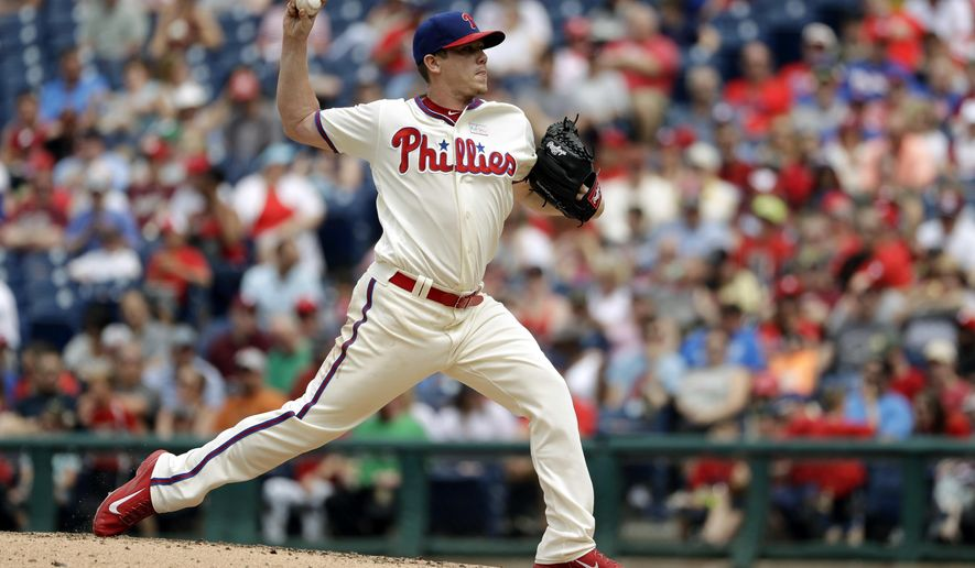 Philadelphia Phillies' Jeremy Hellickson pitches during the third inning of a baseball game against the San Francisco Giants, Sunday, June 4, 2017, in Philadelphia. (AP Photo/Matt Slocum)