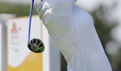 Sandra Gal, of Germany, tees off on the sixth hole during the final round of the ShopRite LPGA Classic golf tournament Sunday, June 4, 2017, in Galloway Township, N.J. (AP Photo/Frank Franklin II)