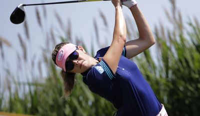 Paula Creamer tees off on the third hole during the final round of the ShopRite LPGA Classic golf tournament Sunday, June 4, 2017, in Galloway Township, N.J. (AP Photo/Frank Franklin II)